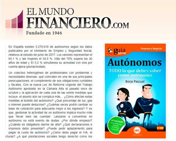 ElMundoFinanciero.com se hace eco del GuíaBurros para autónomos