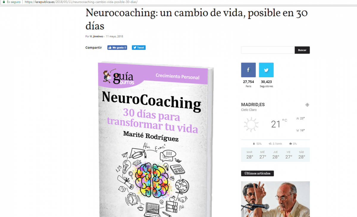 Nueva aparición en prensa del GuíaBurros: Neurocoaching