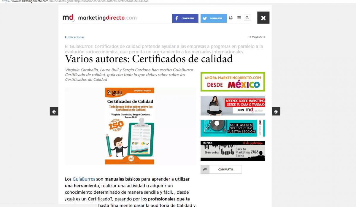 GuíaBurros: Certificados de Calidad, en Marketing Directo