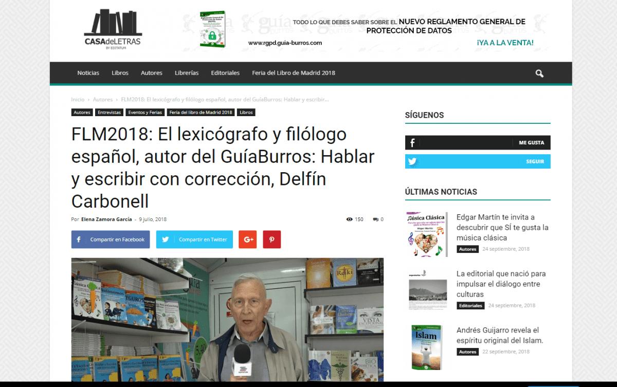 Delfín Carbonell en el portal online Casa de Letras