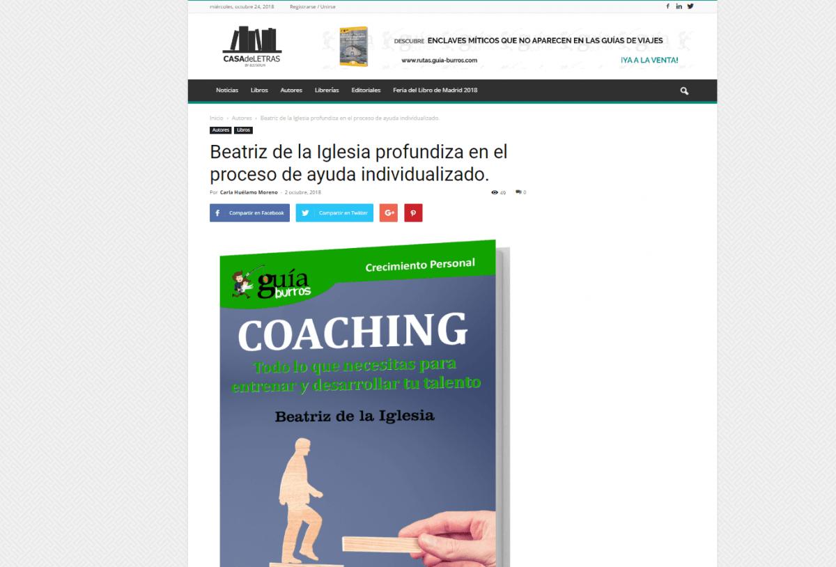 Beatriz de la Iglesia y su GuíaBurros: Coaching, recomendado en Casa de Letras