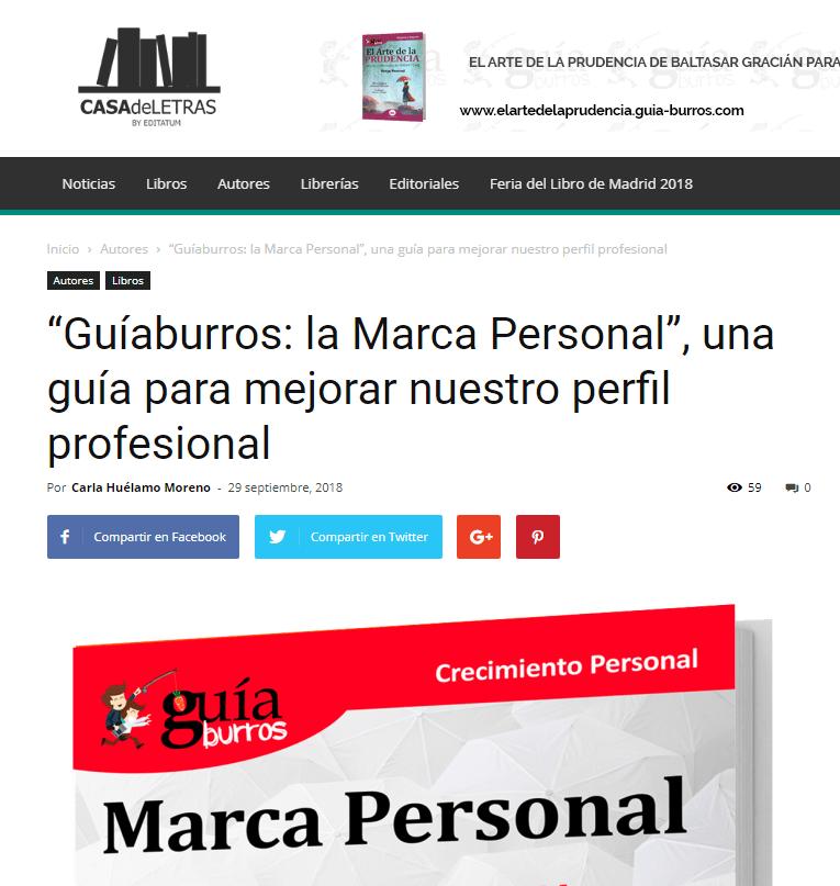 El GuíaBurros: Marca personal y su autora, María José Bosch, artículo en Casa de Letras