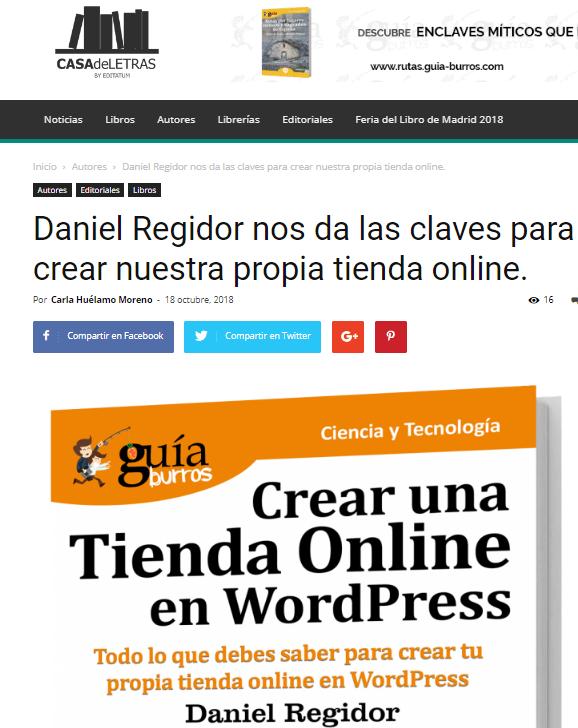 """""""GuíaBurros Crear una tienda online con WordPress"""" en Casa de Letras."""